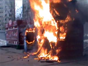 В 6-м микрорайоне сгорел чебуречный ларек