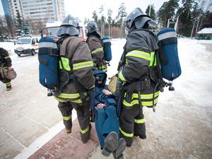Пожарные учения на площади Колумба