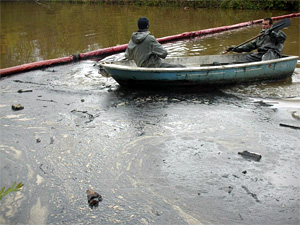 В Горетовку сбросили нефтепродукты