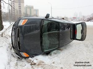 На Панфиловском проспекте опрокинулась машина