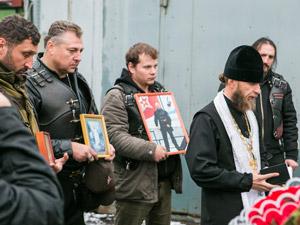 «Ночные волки» провели в ГСК «Октябрьский» панихиду по погибшему байкеру