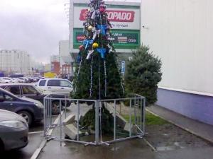 На улицах начинают устанавливать новогодние елки