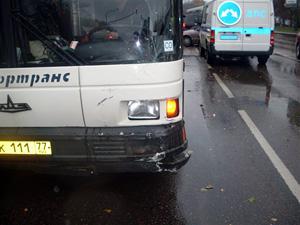 Рейсовый автобус протаранил иномарку