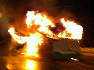 На Ленинградке сгорел автобус №400