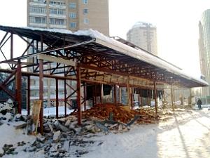 На площади Юности сносят магазин «Теремок»