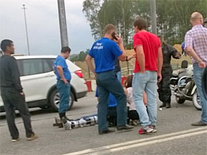Из-за аварии с мотоциклом у «Штыков» серьезно затруднено движение по Ленинградке