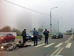 На Алабушевской улице пострадал мотоциклист