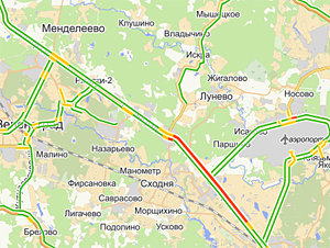 У Черной Грязи автовоз перекрыл Ленинградку